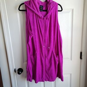 Plus Size Terry cloth Hooded Fuchsia Pink Cover Up